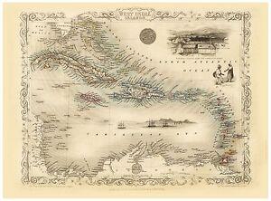 Old Vintage Caribbean decorative map Tallis ca. 1851