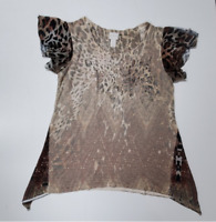 Chicos size 0 leopard animal print with gold accent top  size S/4