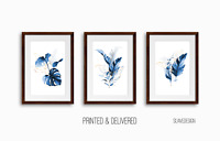 Botanical Prints, Wall Decor Art, (Set of 3) Monstera, Fern Palm Tropical Leaves