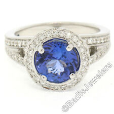18k Gold 3.30ctw Brilliant Tanzanite Solitaire w/ Diamond Halo Split Shank Ring