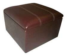 Large Brown Faux Leather Top-Stitch Pouffe/Storage Box/Footstool