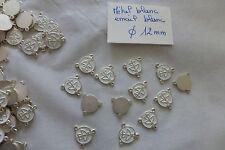 lot 18 coeur connecteur chapelet métal blanc émail blanc CALICE  bijou création