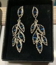 DELPHINE GALA Earrings (j) BLUE RHINESTONE Silver Plated Metal AVON NIB