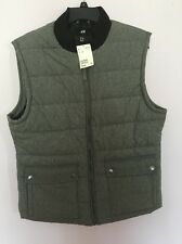 Woman  Gray Puffer Vest SZ 42R  Large Zip Closure H&M Outerwear