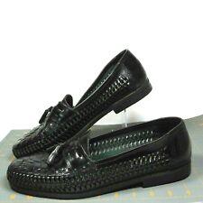 Men's Size 10 Medium Black Shoe With Tassel Loafer Deer Stags Corona Side Weave