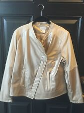 Chico's Champagne Faux Leather & Suede Moto Inspired Jacket 2 L 12 14