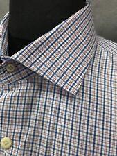Peter Millar Extra Large Blue & Pink Plaid Long Sleeve Shirt : 17 1/2 x 36