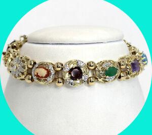 Vintage 6.75CT ornate slide link chain bracelet YG cameo gems 17.6 GM