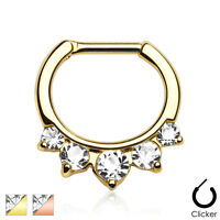 Five Pronged CZ Gold IP Surgical Steel Septum Ring Clicker Nose Piercing 16G