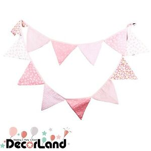 3.3M Vintage Pink Cotton Fabric Flag Bunting Baby Shower Nursing Party Decor