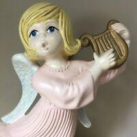 "Ceramic ANGEL Playing Harp ATLANTIC MOLD Pink Dress White Blue Wings 12"" Vintage"