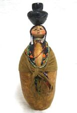 "Santa Clara Maiden 12"" Pot Carrier Gourd Art Figure, Robert Rivera, Brown Shawl"