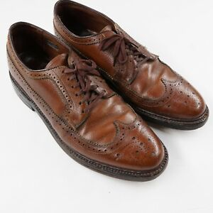 Vtg Hanover Longwing Pebble Grain Wingtip Gunboat Brown Leather Shoes Ms 9.5 D/B