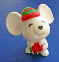 Hallmark MERRY MINIATURES Christmas Vtg WHITE MOUSE Holiday MINI FIGURINE 1979