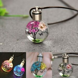 Women Necklace Luminous Dried Flower Butterfly Glass Ball Pendant Rope Chain New