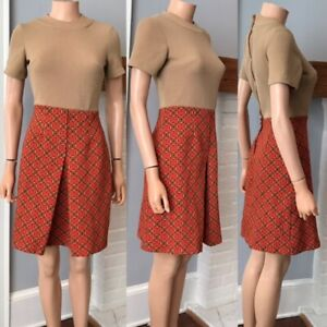 VINTAGE MOD SCOOTER 1960s SPACE AGE DRESS COLORBLOCK sz SMALL