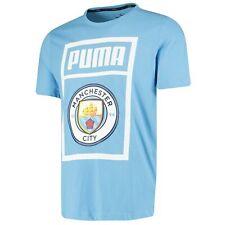 Puma Official Mens Manchester City FC Shoe Tag Football T-Shirt Tee Top Blue