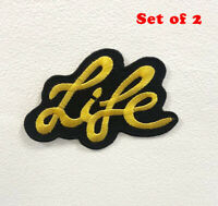 Life Art Yellow Badge Clothes Iron on Sew on Embroidered Patch Set of 2