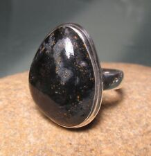 Sterling silver 925 cabochon Pietersite ring UK O½-¾/US 7.5-7.75. Gift bag.