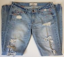 Hollister Womens Jeans Distressed Destroyed Painted Splatters Juniors Size 5R