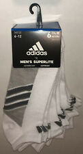 Adidas Superlite No Show Socks 6 Pair Men 6-12 White Gray 3 Stripe Logo New! $20