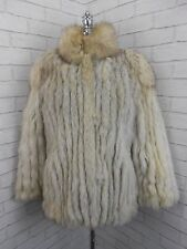 Vintage 1980s Short White Arctic Silver Fox Real Fur Retro Jacket Coat UK 10