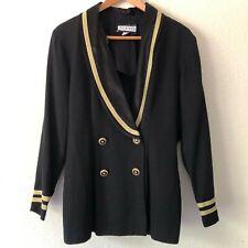 New listing Vintage Alexis Blazer Nautical 4 Button Black Gold White Womens L