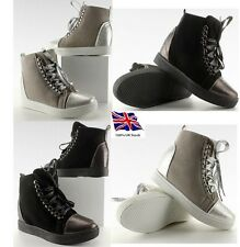 Womens-Ladies Mid Hell Wedge High Top Ankle Boots,Trainers Lace Up Sneakers NEW*