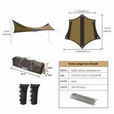 Sun Shelter Shade Khaki Camping Tarp Awning Waterproof Canopy Sandbag  5-8Person