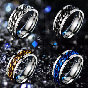 Silver/Black/Gold/Rainbow Spinner Chain Rings Stainless Steel Men's Band Sz 6-12