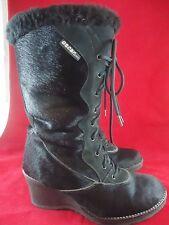 Oscar Sport Oscar de la Renta Black Fur Boots Lace Up Wedge Heel Sz 38 FAST SHIP