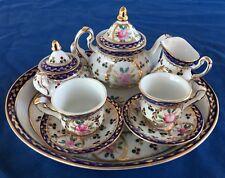 Crown Porcelain Roses Flowers Floral Childs 10-Piece Tea Set Gold Trim EXCELLENT