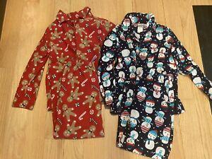 2 Pair Gymboree Flannel 2-piece Pajamas Snowman Gingerbread Unisex Size 5/6 S Sm