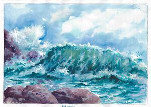 original painting A3 123BOK art samovar acrylic Modern seascape Signed 2021