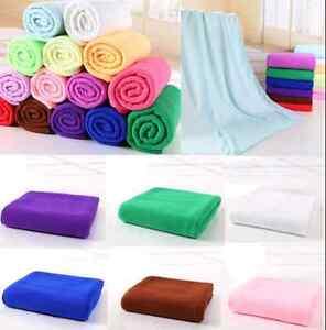 Large Size Absorbent Microfiber Fleece Bath Towel Shower Spa Simple 70*140cm US