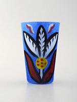 Ulrica Hydman Vallien for Kosta Boda, Sweden. Vase in blue mouth blown art glass
