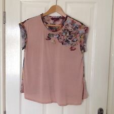 LADIES 'TEDBAKER' PALE PINK FLORAL TOP. SIZE 8/ TEDBAKER SIZE 1. GOOD CONDITION