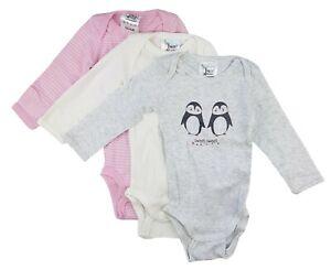 3er Set Baby Mädchen Body Langarm Unterwäsche Rosa Weiß Grau 62 68 74 80 86 92