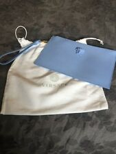 Versace Light Blue Medusa Leather Pouch Wristlet Purse $950