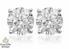CERTIFIED 1.00ct 1ct ONE CARAT ROUND-CUT F/I1 DIAMONDS 14K GOLD STUDS EARRINGS