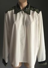 Vintage Cream with  Black, Gold & Silver Trim  MODERN CLASSIC Shirt Size 16