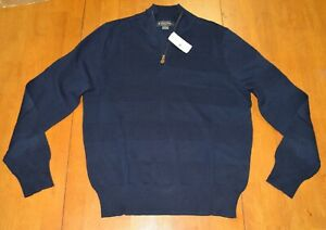Brooks Brothers Cotton Half Zip Pullover Sweater Navy NWT $118