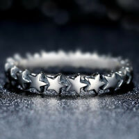 Fashion Star Shaped Rings for Women 925 Silver Jewelry Party Ring Size 6-10