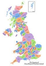 Qualité Grande affiche, Royaume-Uni Carte featuring County noms Gratuit P + P A1 3 FT (environ 0.91 m) X 2 FT (environ 0.61 m) environ