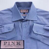 Thomas Pink Slim Fit Traveller Mens Size 16 41 Blue Striped Cotton Dress Shirt