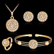 Women Lady Round Rhinestone Necklace Bracelet Ring Earrings Pendant Jewelry Set