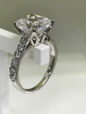 4 Prong 3.85Ct White Princess Cut Diamond Engagement Wedding Ring 14K White Gold