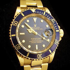 Rolex Submariner Date SOLID 18K Yellow Gold Watch Oyster Band Blue Sub 16618
