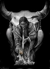 DGA Native American Cow Skull Smoking Pipe Stretched Canvas Wall Art 12x16 Inch