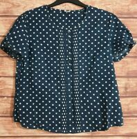Ladies Top Navy BLUE/WHITE Polka Dots Buttons Short Sleeved COTTON TRADERS Uk-16